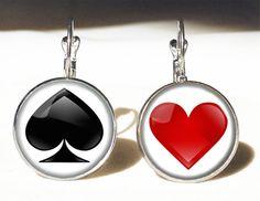 Spades and hearts Big earrings, 0545ERS from EgginEgg by DaWanda.com