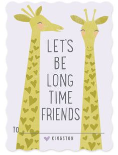 Smiling Giraffes Classroom Valentine's Day Cards
