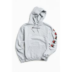 Champion Repeat Eco Hoodie Sweatshirt (1,135 MXN) ❤ liked on Polyvore featuring tops, hoodies, champion hoodie, sweater pullover, graphic hoodie, champion pullover and graphic hoodies