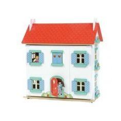 Le Toy Van poppenhuis strawberry villa. Deze villa is helemaal geschilderd en er zijn 3 ingerichte verdiepingen!