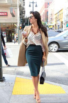 Blouse: H&M; Skirt: Zara; Jacket: Zara; Shoes: Prada; Bag: Chanel; Sunglasses: Karen Walker; Jewelry: J. Crew necklace, Michael Kors watch, vintage watch, Forever21 bracelet