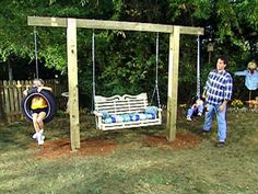 Get the kids away from the electronics and out in the fresh air by installing a tire swing in your backyard. Tire swings have been around forever because they& fun for any age and they& inexpensive to make. Backyard Swing Sets, Backyard Playground, Backyard For Kids, Backyard Projects, Backyard Patio, Backyard Landscaping, Backyard Shade, Pergola Swing, Landscaping Ideas