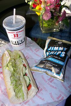 Jimmie Johns sandwich chips and medium soda Jimmy Johns, Fresh Rolls, Soda, Sandwiches, Chips, Medium, Ethnic Recipes, Life, Drink