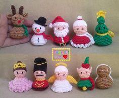 Christmas set - Enfeites de natal para árvore feitos em crochê