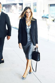 Sarah Jessica Parker in a metallic dress, structured blazer, and chic add-ons like snakeskin pumps and a satchel #StreetStyle
