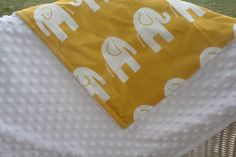 Toddler Yellow Ele and Minky Blanket by DesignsbyChristyS on Etsy, $70.00