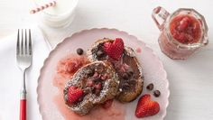 chocolate French toast with strawberry syrup