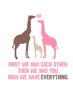 Now We Have Everything 5x7 Giraffe Family by pinkpuppypaperco, $10.00