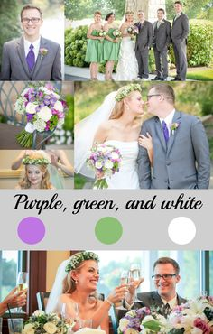 Purple, green, and white wedding color scheme.