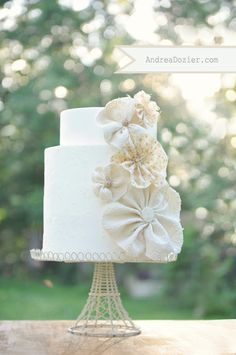 fabric flower wedding cake - rosette wedding cake- vintage floral flowers cake andreadozier copy