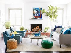 Blue and greens in living room with lots of natural light