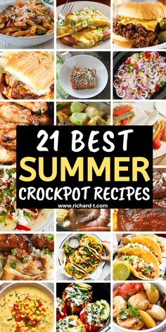21 Delicious and easy summer crockpot recipe ideas! These crockpot recipes are PERFECT for the summer! Best Crockpot Recipes, Crockpot Dishes, Crock Pot Slow Cooker, Crock Pot Cooking, Slow Cooker Recipes, Cooking Recipes, Crockpot Ideas, Crockpot Summer Meals, Delicious Recipes