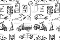 Seamless pattern of Traffic Laws. Patterns