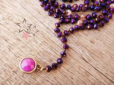 Handmade iridescent rosary necklace with purple crystal stones on silk cord adorned with a violet round acrylic bead at the edge. The length of the Handmade Necklaces, Handmade Jewelry, Rosary Necklace, Acrylic Beads, Stones And Crystals, Iridescent, Jewelry Collection, Purple, Pink