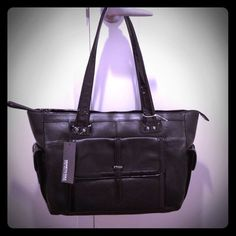 """Brand new KENNETH COLE REACTION black matte and patent leather tote: """"Fantabulous"""". Roomy with 3 outside pockets which close with magnets. Inside has a zipper pockets and pockets for keys & cell phone. Good for work, school, or play! 10.25"""" high x 18"""" wide x 6.5"""" deep. Handle is 11"""" drop. Thanks for looking! $125 http://poshmark.com/listing/4fab0037b2bb1b6b38001108"""