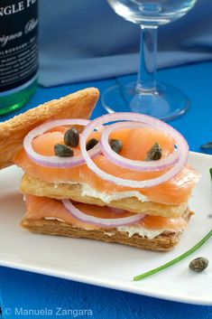 Smoked Salmon Mille-Feuille - a modern take on the classic smoked salmon bagel. Fish Recipes, Seafood Recipes, Yummy Recipes, Smoked Salmon Bagel, My Favorite Food, Favorite Recipes, Healthy Gourmet, American Dishes, Puff Pastry Recipes