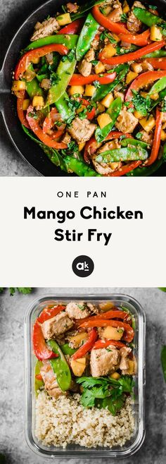Deliciously flavorful mango chicken stir fry made in one pan with plenty of bright veggies. This easy stir fry is protein-packed and perfect for meal prep! Serve with quinoa, brown rice or cauliflower rice for a full meal. #mealprep #mealprepmonday #chicken #chickenrecipes #healthyrecipes #healthyeating