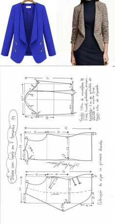 Amazing Sewing Patterns Clone Your Clothes Ideas. Enchanting Sewing Patterns Clone Your Clothes Ideas. Easy Sewing Patterns, Clothing Patterns, Dress Patterns, Fashion Sewing, Diy Fashion, Ideias Fashion, Trendy Fashion, Blazer Pattern, Jacket Pattern