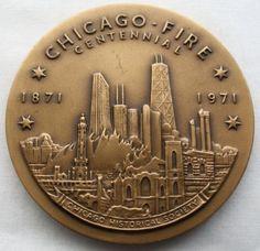 CHICAGO Fire CENTENNIAL Historical BRONZE Medallion MEDAL Signed TA ROVELSTAD