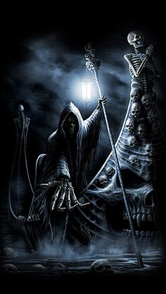 WALLPAPERS - Gothic, skulls, death, fantasy, erotic and animals: death Grim Reaper Art, Grim Reaper Tattoo, Arte Horror, Horror Art, Skull Pictures, Cool Pictures, Monster Pictures, Evil Art, Skull Art