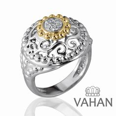 Ring in Sterling silver, 14K gold, diamond #VahanPinterest