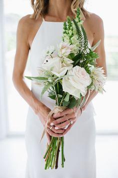 Tropical rose and dahlia wedding bouquet: Floral Design: Deena Wolf/Holliday - http://www.stylemepretty.com/portfolio/deena-wolf/holliday Photography: Levi Stolove Photography - levistolovephotography.com   Read More on SMP: http://www.stylemepretty.com/2017/06/13/fall-montauk-beach-wedding/