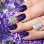 silver and purple glittery nails