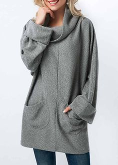 Grey Long Sleeve Pocket Cowl Neck Blouse on sale only US$32.06 now, buy cheap Grey Long Sleeve Pocket Cowl Neck Blouse at liligal.com