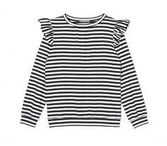 Bluza z falbankami w czarno białe paski