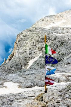 #flag on the top of the #mountain Royalty Free Stock Photo