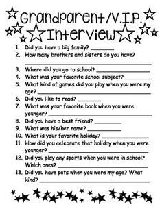 Grandparents Day InterviewThis is an activity I used with my 1st grade students on Grandparent's Day! They loved getting to know their grandparents and special friends (VIP) better with these fun interview questions!