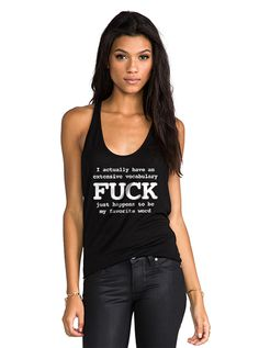 """Women's """"My Favorite Word is Fuck"""" Racerback Tank by Fifty5 Clothing (Black)"""