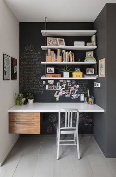 This cozy nook is what you really need when you always have tons of reminders. The wall is made of chalkboard so you can write the stuff you need to remember. Plus you can draw your own wall design whenever you want to.
