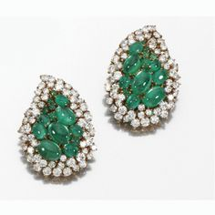 A Pair of Diamond and Emerald Earclips