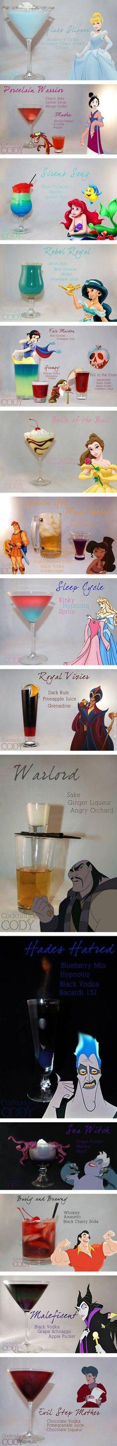 Disney princess cocktails.