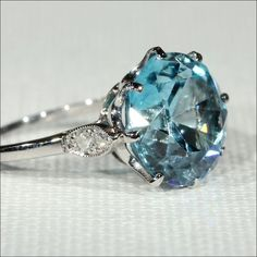 Vintage Blue Zircon and Diamond Ring in Platinum, c. 1925 from vsterling on Ruby Lane