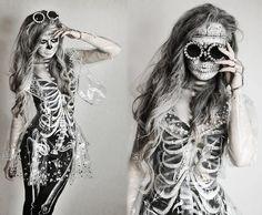 Klaudia Klara - Handmade Skeleton Bodysuit, Handmade Skeleton Leggings, Handmade Transparent Jacket, Handmade Transparent Skirt, Diy Crystal...