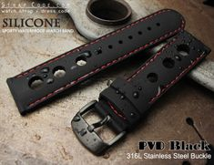 0026f0064 Silicon Black 3 Punch Holes with Red Stitches 22mm Watch Strap, PVD Black  Buckle
