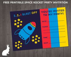 FREE Space Rocket Party Invitation | Ruby and the Rabbit