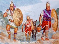 Cretan warlord and his retainers from the centuries BC - art by Giuseppe Rava Ancient Troy, Ancient Greek Art, Ancient Greece, Ancient History, Greco Persian Wars, Sea Peoples, Les Runes, Greek Soldier, Greek Warrior