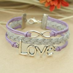 Love bracelet - infinity bracelet with love charm for girls, gift for girlfriend and BFF. $7.99, via Etsy.