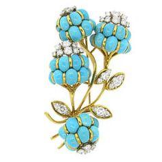 1960s Elegant Turquoise Diamond Gold Brooch Pin