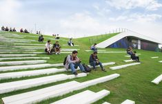 Gallery of Second Stage of Hangzhou Cloud Town Exhibition Center / Approach Design (ZUP) - 21 Landscape Stairs, Landscape Architecture Design, Green Landscape, Stairs Architecture, Architecture Portfolio, Hangzhou, Houses On Slopes, Urban Design Diagram, Rooftop Design