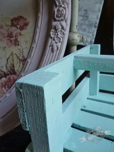 Chalk Paint® decorative paint by Annie Sloan Florence mixed with 7 parts Old White against vintage frame in Antoinette with Annie Sloan's Faded Roses fabric inset.