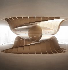Adopting technique from furniture making, molded plywood is a strong, stiff material. This forms a module of a tread extending as its own structure connecting the ceiling or floor. Home Stairs Design, Interior Stairs, Interior And Exterior, Interior Design, Stair Design, Architecture Design, Concept Architecture, Parametric Architecture, Amazing Architecture