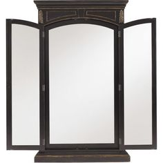Evoke classic elegance in your master suite or guest room with this striking floor mirror, featuring 3 reflective panels and a gently weathered black and gol...
