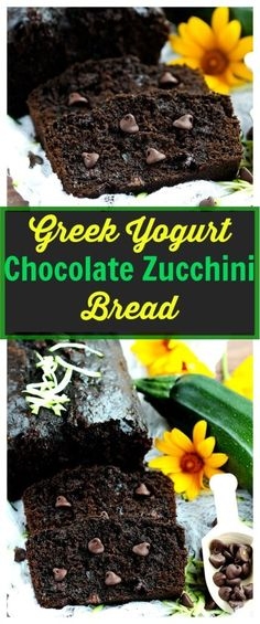 Greek Yogurt Chocolate Zucchini Bread - Healthier zucchini bread made with coconut oil, Greek yogurt and honey. So delicious for summer! (Chocolate Muffins With Greek Yogurt) Just Desserts, Dessert Recipes, Drink Recipes, Yummy Treats, Yummy Food, Desserts Sains, Chocolate Muffins, Dessert Bread, Healthy Sweets