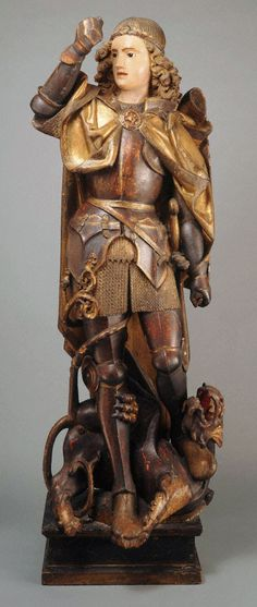 Saint Michael, late 15th century, Wood with polychromy and glass, 156.5 cm | Princeton University Art Museum