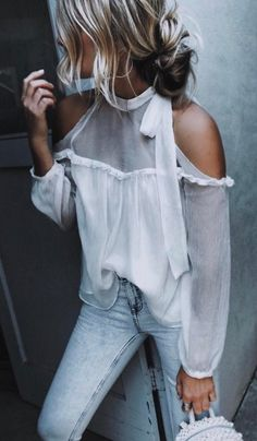 summer outfits White Cold Shoulder Blouse + Bleached Skinny Jeans