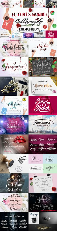 10 Bundle Calligraphy- Extended Lnc. by feydesign on Creative Market. Just $60! Great price!